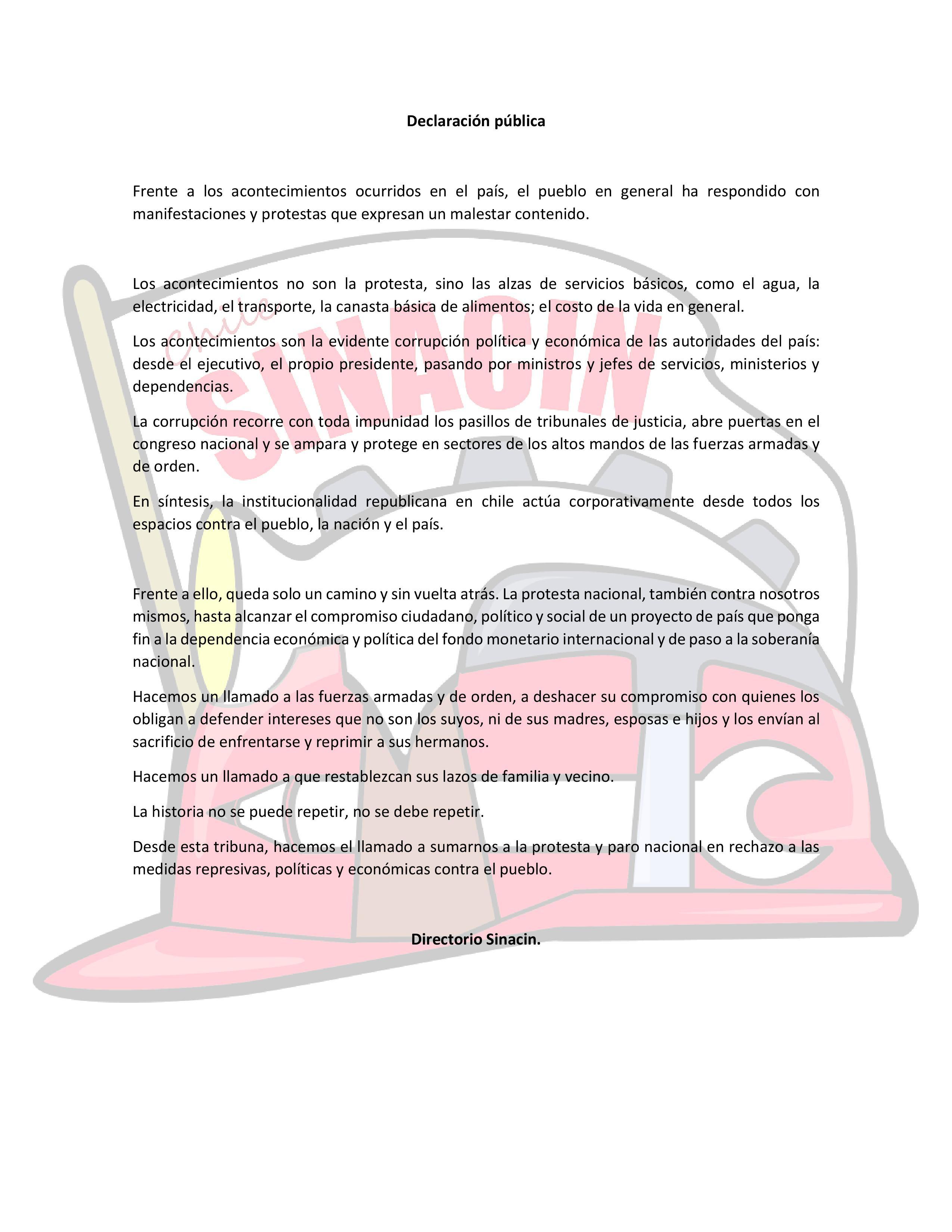 Declaración Pública Sinacin