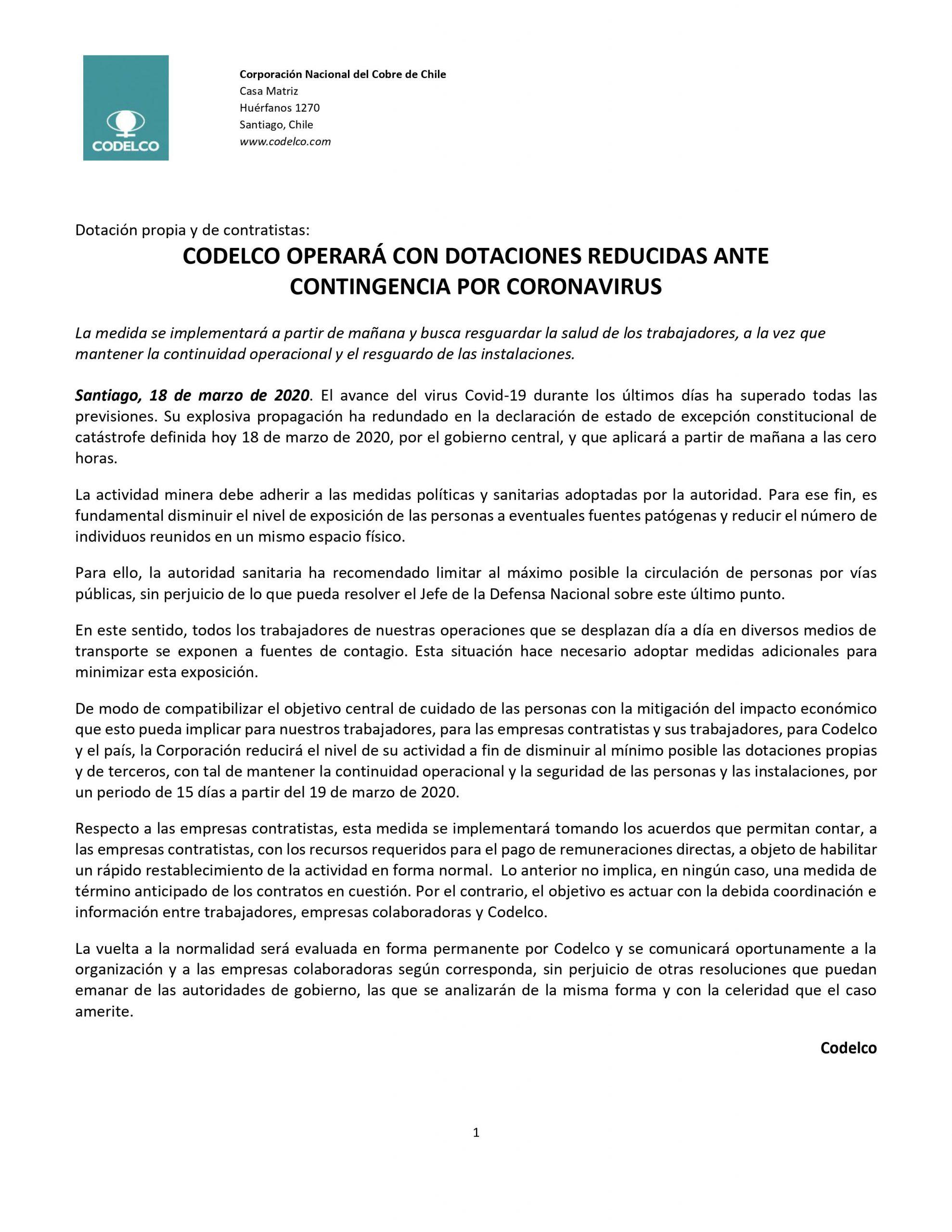 CODELCO OPERARÁ CON DOTACIONES REDUCIDAS ANTE CONTINGENCIA POR CORONAVIRUS