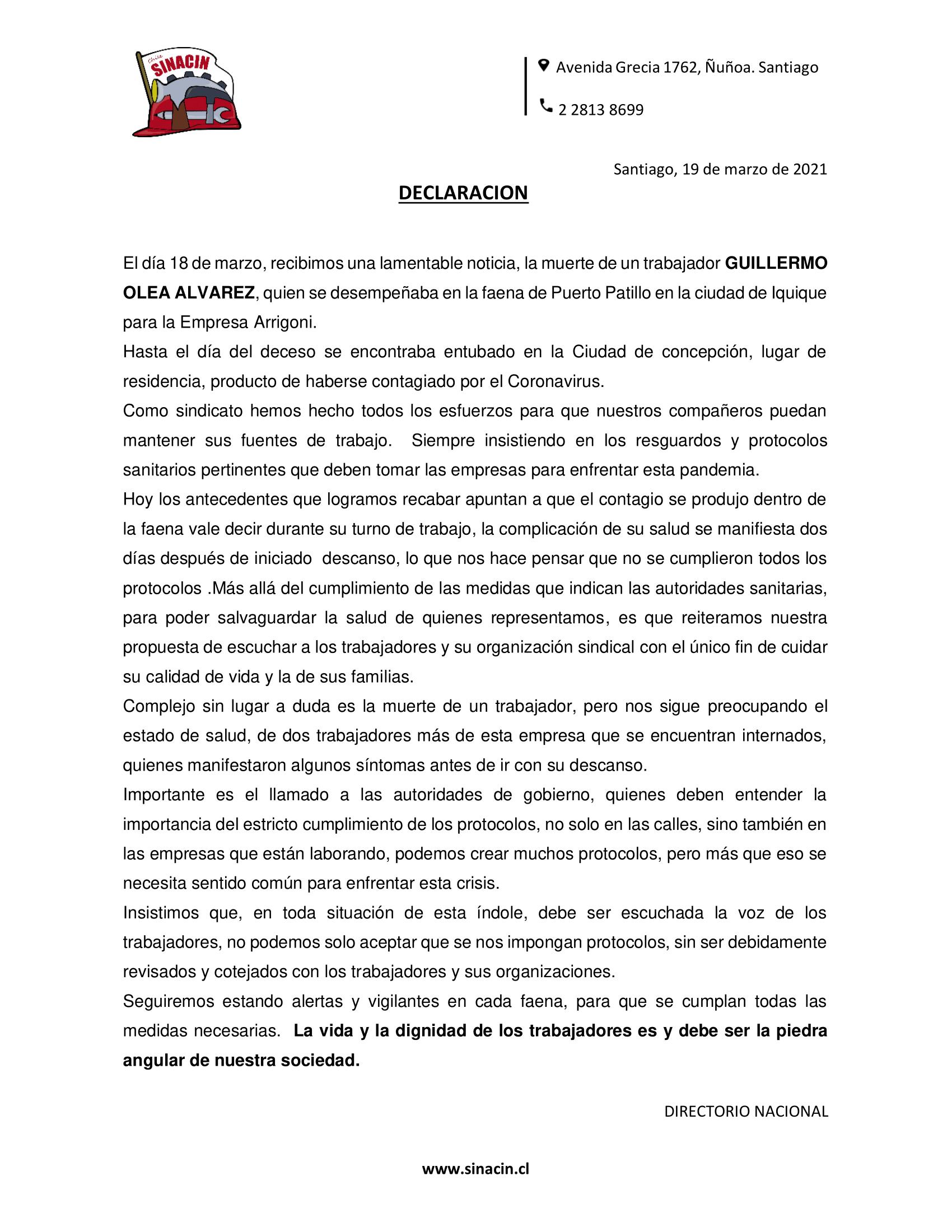 Declaración Publica ante el fallecimiento de Guillermo Olea.