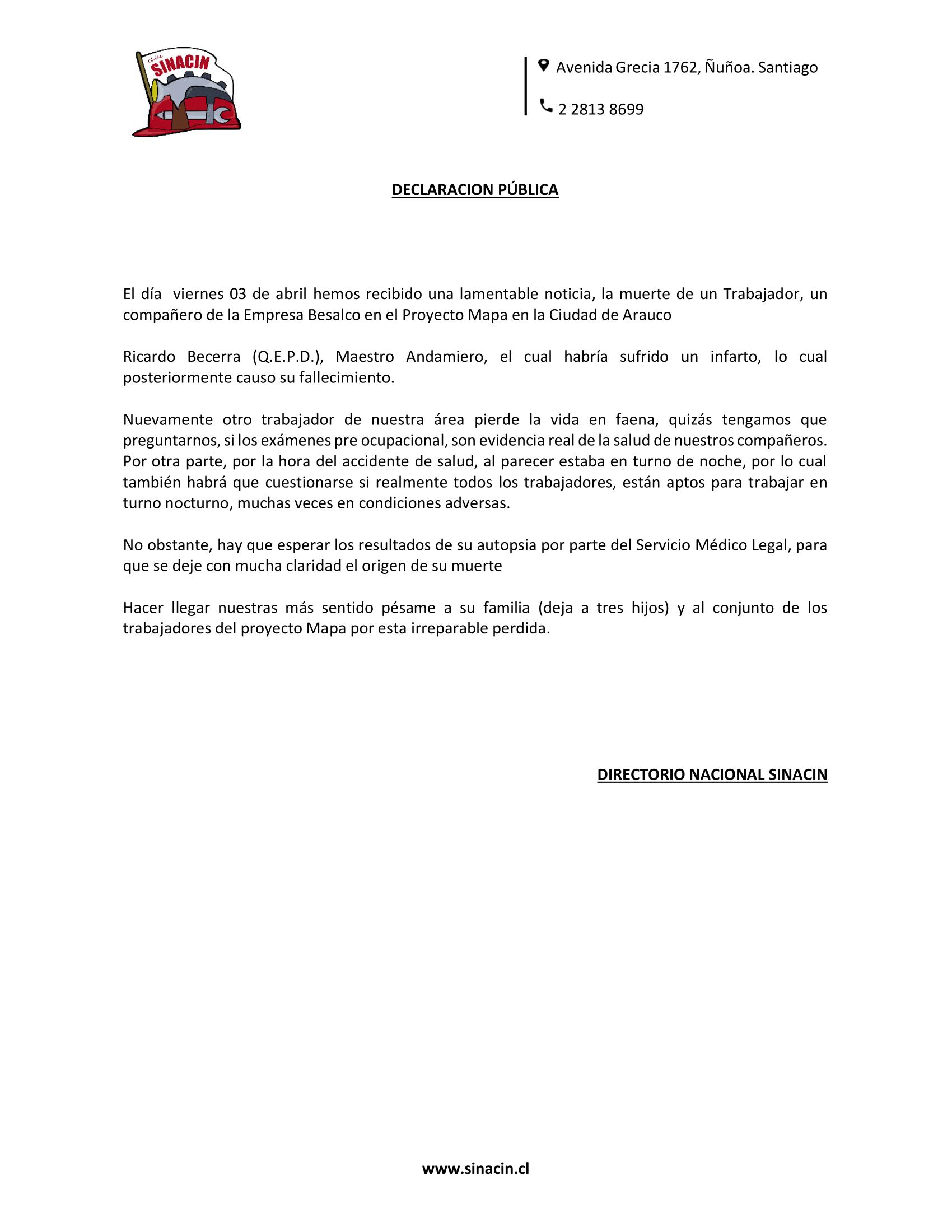 Declaración Pública ante muerte de un trabajador del proyecto MAPA